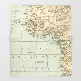 West  & North Africa Vintage Map Throw Blanket