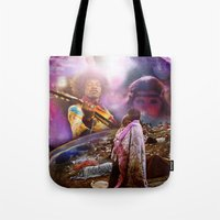 woodstock Tote Bags featuring Woodstock 1969 by ZiggyChristenson
