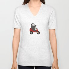 Sloth on Tricycle Unisex V-Neck