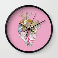 ellie goulding Wall Clocks featuring my heart is real by Bianca Green