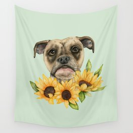 Cheerful | Bulldog Mix with Sunflowers Watercolor Painting Wall Tapestry