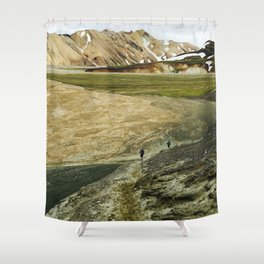 Running In Icelandic Mountains Shower Curtain