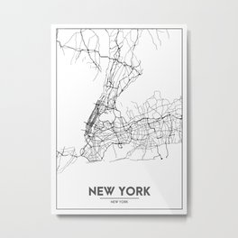 Minimal City Maps - Map Of New York, United States Metal Print