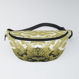 Snake skin scales texture. Seamless pattern black yellow gold white background. simple ornament Fanny Pack