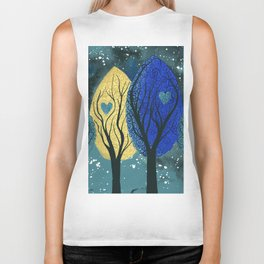 Night Family - Abstract family portrait in trees Biker Tank