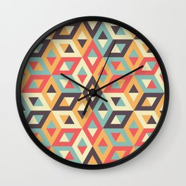 Pastel Geometric Pattern Wall Clock