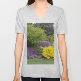 Beautiful Landscape With Purple and Gold Flower, Lush Landscape, Green Unisex V-Neck