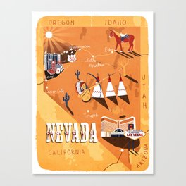 Nevada Map Canvas Print