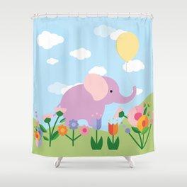 Purple Elephant and Balloons, nursery decor , Shower Curtain