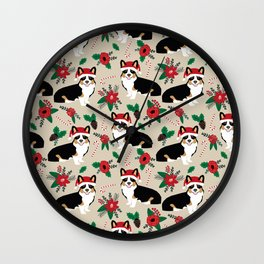 Tricorgi Christmas Floral print - tri corgi blanket, tricolored corgi, corgi gift, corgi lover, cute Wall Clock