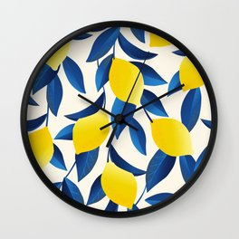Yellow Limons and Blue Leaves Wall Clock