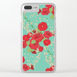 Red roses and poppies on teal Clear iPhone Case