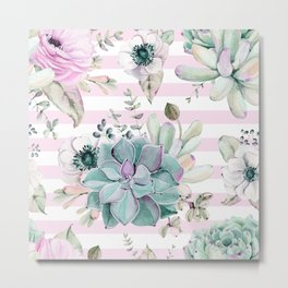Succulents in the Garden Pink Stripes Metal Print
