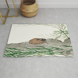 Cicada on a weeping willow tree - Japanese vintage woodblock print Rug