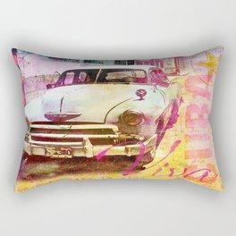 Viva Cuba retro car mixed media art Rectangular Pillow