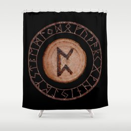 Perthro Elder Futhark Rune of fate and the unmanifest, probability, luck, nothingness, the unborn Shower Curtain