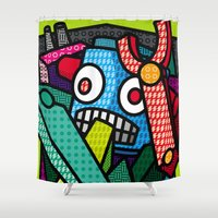 artsy Shower Curtains featuring Artsy Bot by Brandon Ortwein