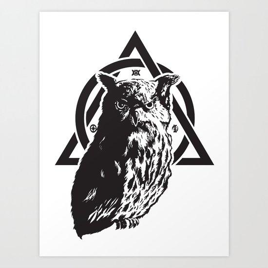 Owl & symbols Art Print