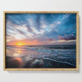 Daybreak at Hilton Head - Sunrise Along Beach at Hilton Head Island in South Carolina Serving Tray