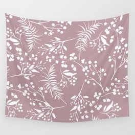 Modern mauve pink white hand painted floral Wall Tapestry