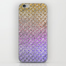 Pastel Glitter Mermaid Scallops Pattern iPhone Skin