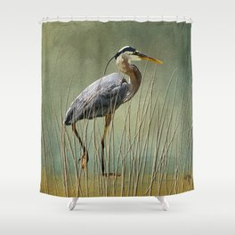 Great Blue At The Beach Shower Curtain