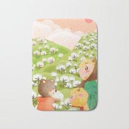 Girl And Cute Bear Bath Mat