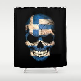 Dark Skull with Flag of Greece Shower Curtain