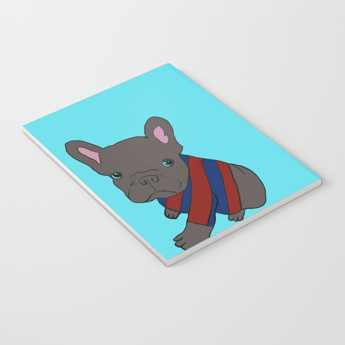 French Bull Dog Puppy in a Sweater Notebook