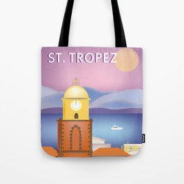 St. Tropez, France - Skyline Illustration by Loose Petals Tote Bag