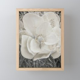White Flower Silver Glitter Framed Mini Art Print