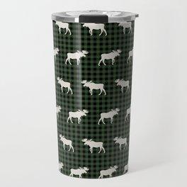 Moose northwest camping cabin chalet pattern plaid hunter green Travel Mug