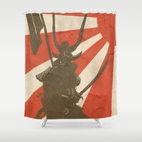 samurai Shower Curtains featuring Samurai by Riku Forsman