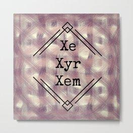 Xe/Xyr/Xem Pronouns Red Tint Metal Print