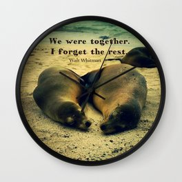 Love couple quote sea lions on the beach Wall Clock