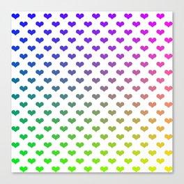 Diagonal rainbow hearts Canvas Print