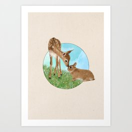Fawn & Bunny - Into the Woods Art Print