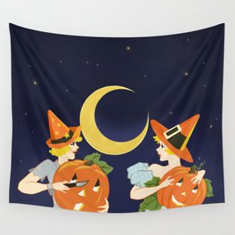 Vintage Halloween Costume Party Pumpkin Carving Wall Tapestry