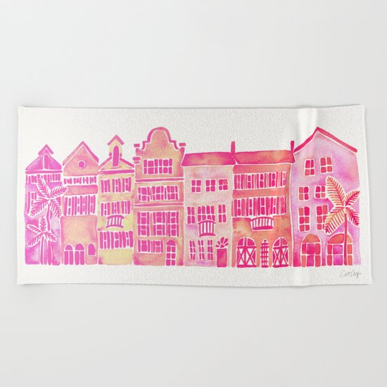 Tropical Homes – Pink Ombré Beach Towel