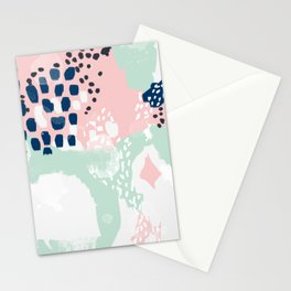 Ostara - minimal abstract painting trendy navy mint and pink pastels acrylic large minimalist Stationery Cards