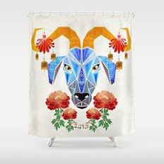 chinese goat Shower Curtain