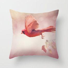 Male Northern Cardinal Flying  ,watercolor painting Throw Pillow