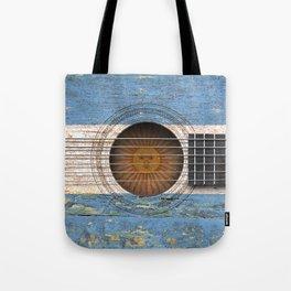 Old Vintage Acoustic Guitar with Argentine Flag Tote Bag