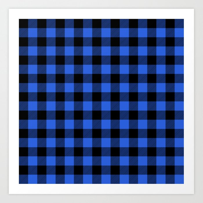 Royal Blue and Black Lumberjack Buffalo Plaid Fabric Kunstdrucke