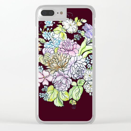 flowers on brown background Clear iPhone Case
