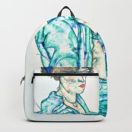 Egon Schiele - Sitting Semi-Nude with Blue Hairband - Digital Remastered Edition Backpack