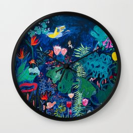 Brightly Rainbow Tropical Jungle Mural with Birds and Tiny Big Cats Wall Clock
