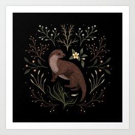 Fishing Otter Art Print