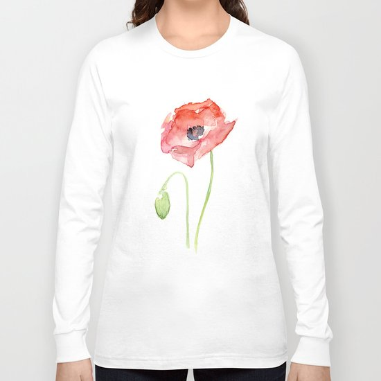 Red Poppy Flower Flowers Long Sleeve T-shirt