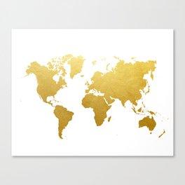Faux Gold Foil World Map Print Gold Art Print Interior Design Wall Art Pop Art The Globe USA Europe  Canvas Print